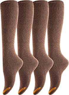 Lovely Annie Women's 4 Pairs Pack Knee High Cotton Boot Socks 6-9(Coffee)