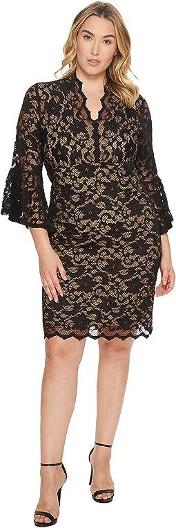 Karen Kane Plus - Plus Size Flare Sleeve Lace Dress