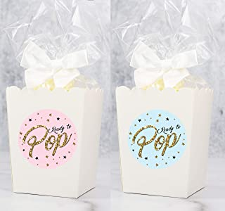 Ready To Pop Gender Reveal Popcorn Box Bundle | 20 - White Boxes - Bags - Bows - Stickers | 3 Inches x 4 Inches | Baby Shower Popcorn Favors