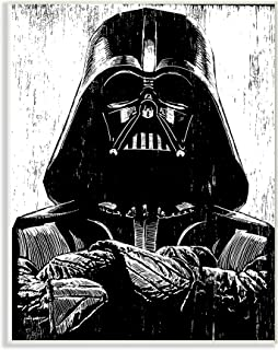 The Stupell Home Décor Collection Black and White Star Wars Darth Vader Distressed Wood Etching 10 x 15 Multi mwp-490_wd_10x15