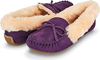 Floopi Womens Indoor/Outdoor Faux Fur Lined Basic Moccasins Slipper W/Memory Foam