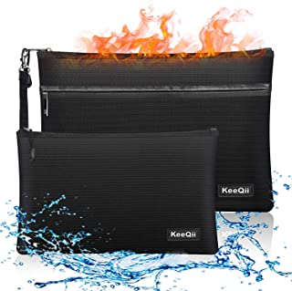 KeeQii Fireproof Money Bag,Two Pockets Waterproof and Fireproof Document Bags, Fireproof Safe Storage Pouch for Documents,...