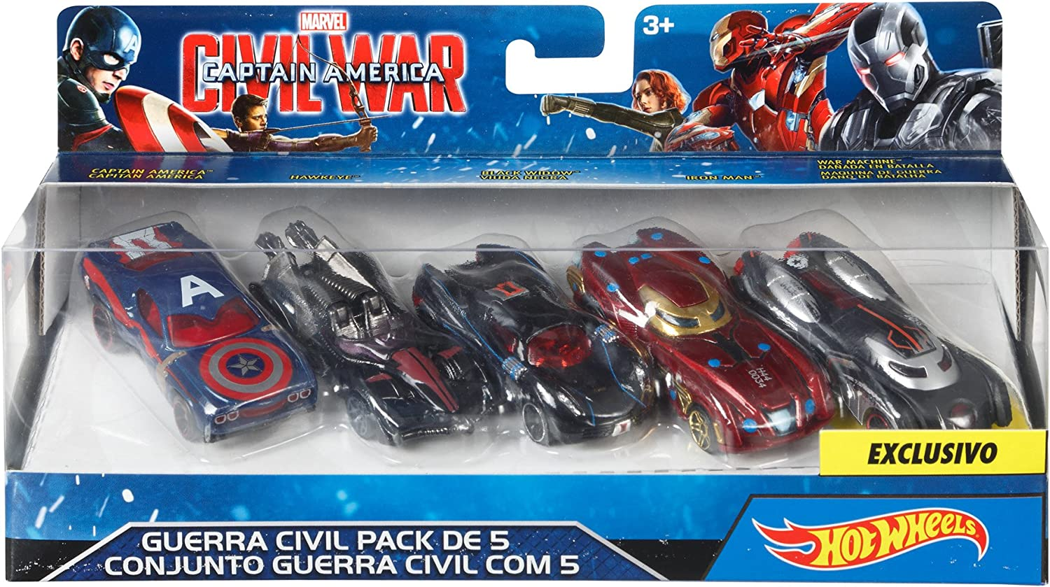 Hot Wheels Marvel Civil War Character Car  Pack of 5