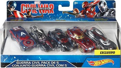 Hot Wheels Spielzeugautos, Motiv Marvel Civil War, 5 ück