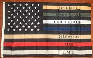 Thin Multi Line Flag 3x5 Red Blue Green Support Banner Police Fire