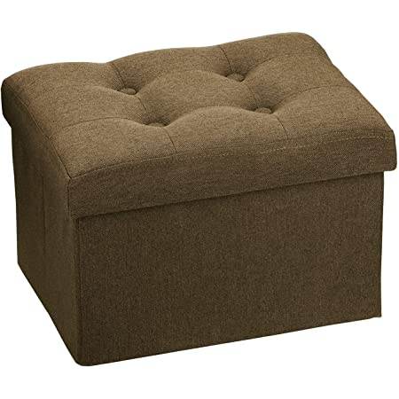 Docvania Small Folding Storage Ottoman ,Foot Rest Stool Short Ottoman,FootRestforCouch, Footrest Stool Seat for Bedroom and Living Room,Padded with Thick Sponge,16X12X11in Brown