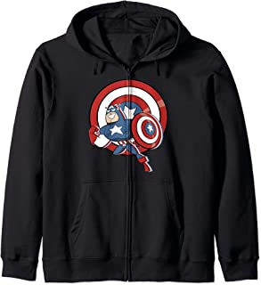 Marvel Captain America Retro Cartoon Shield Portrait Sweat à Capuche
