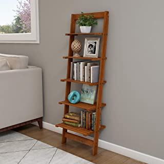 Lavish Home Ladder Bookshelf-5 Tier Leaning Decorative Shelves for Display, Cherry