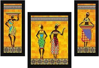 ArtX Paper African Women Wall Art, Multicolor, Tribal, 13.5X22.5 in, Set of 3
