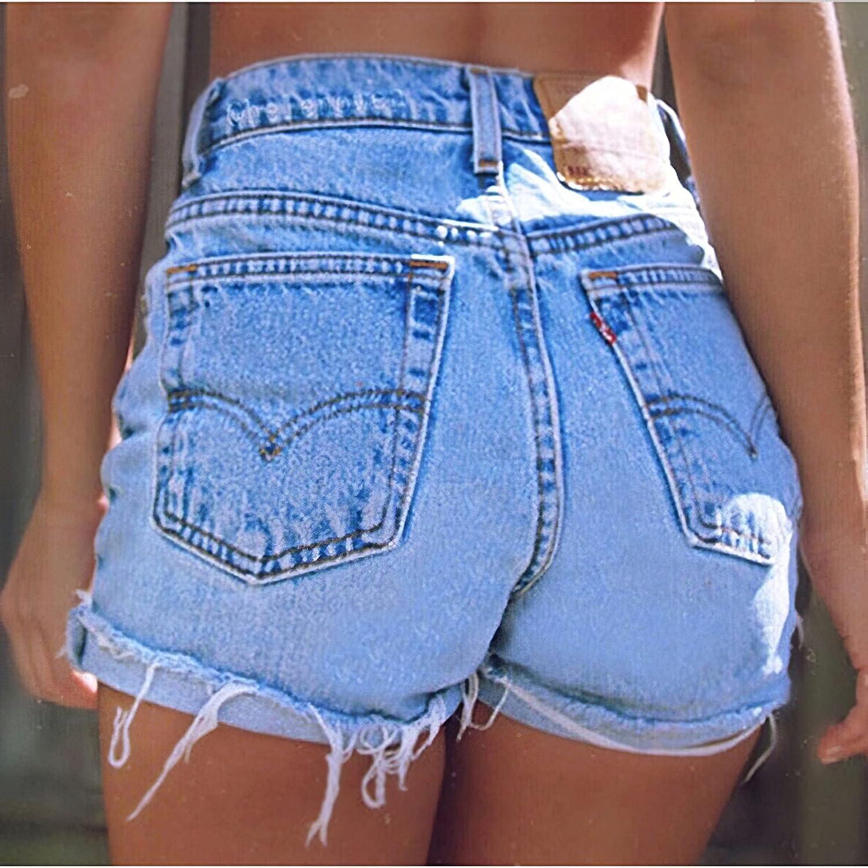 Women's Vintage Denim High Waisted Folded Fashion Ripped Sexy Hem Jeans Shorts