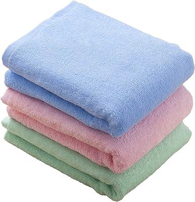 kosugizen バスタオル 3色 50×100㎝ 徳用カラー ミニサイズバスタオル(ピンク・ブルー・グリーン) 3枚入