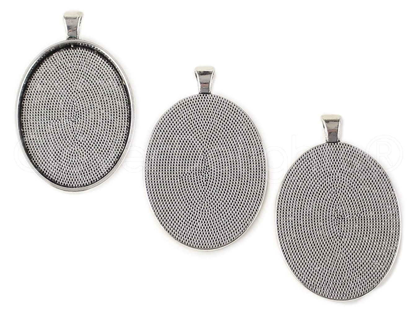 CleverDelights 20 Oval Pendant Trays - Antique Silver Color - 30x40mm - Pendant Blanks Settings s3885844336