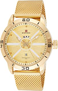 Naviforce Men's Gold Dial Stainless Steel Mesh Analogue Classic Watch - NF9155-GGG