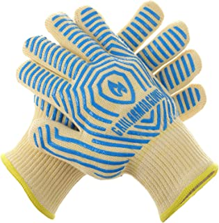 Grill Armor Extreme Heat Resistant Oven Gloves - EN407 Certified 932F - Cooking Gloves for BBQ, Grilling, Baking, Blue