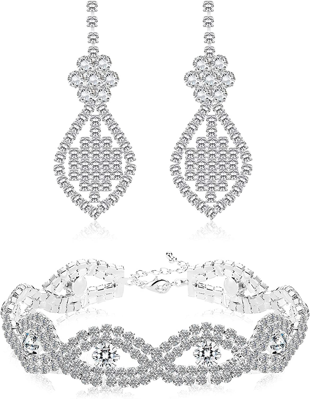 Sllaiss Bridal Wedding Jewelry Sets For Women Flower Drop Dangle Earrings Rhinestone Crystal Bracelet Sparkling Prom jewelry Bridesmaids
