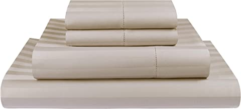Threadmill Home Linen 500 Thread Count Damask Stripe Cotton Sheets 100% ELS Cotton, Hem Stitch Luxury 4 Piece Bed Sheet Set, Fits Mattresses up to 18 inches deep, Smooth Sateen Weave, Queen, Beige