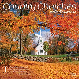 Country Churches with Scripture 2020 12 x 12 Inch Monthly Square Wall Calendar, USA United States of America