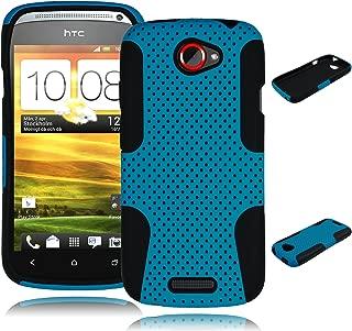 Bastex Heavy Duty Hybrid Case for HTC One S Z520e - Black Silicone/Sky Blue Hard Mesh Shell