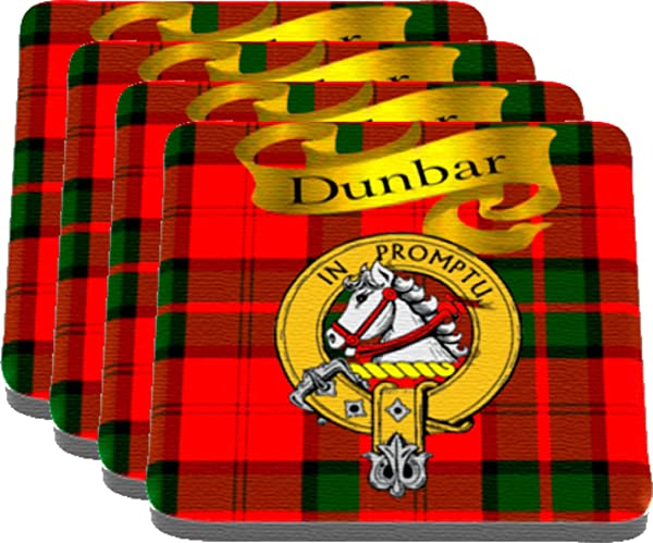 Scottish Clan Dunbar Made In USA On Cloth Topped Rubber Coaster Set Of 4