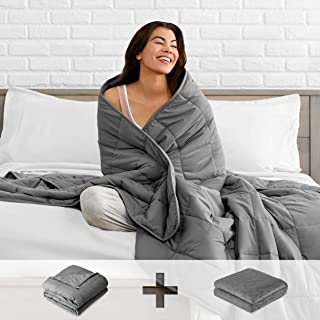 "Bare Home Kids Weighted Blanket with Cover 10lb - Throw Size - Diamond Pattern Duvet Cover (40""x60"") - Heavy Blanket for Sleeping - Heavyweight - 100% Cotton with Glass Beads (Grey)"