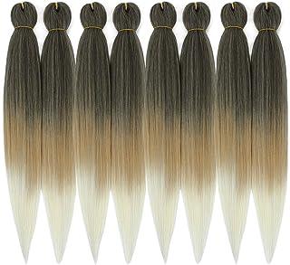 Ombre Pre-stretched Braiding Hair, Top Silky Braid Hair Extensions, Crochet Twist Hair Braids, Yaki Texture Original Braid...