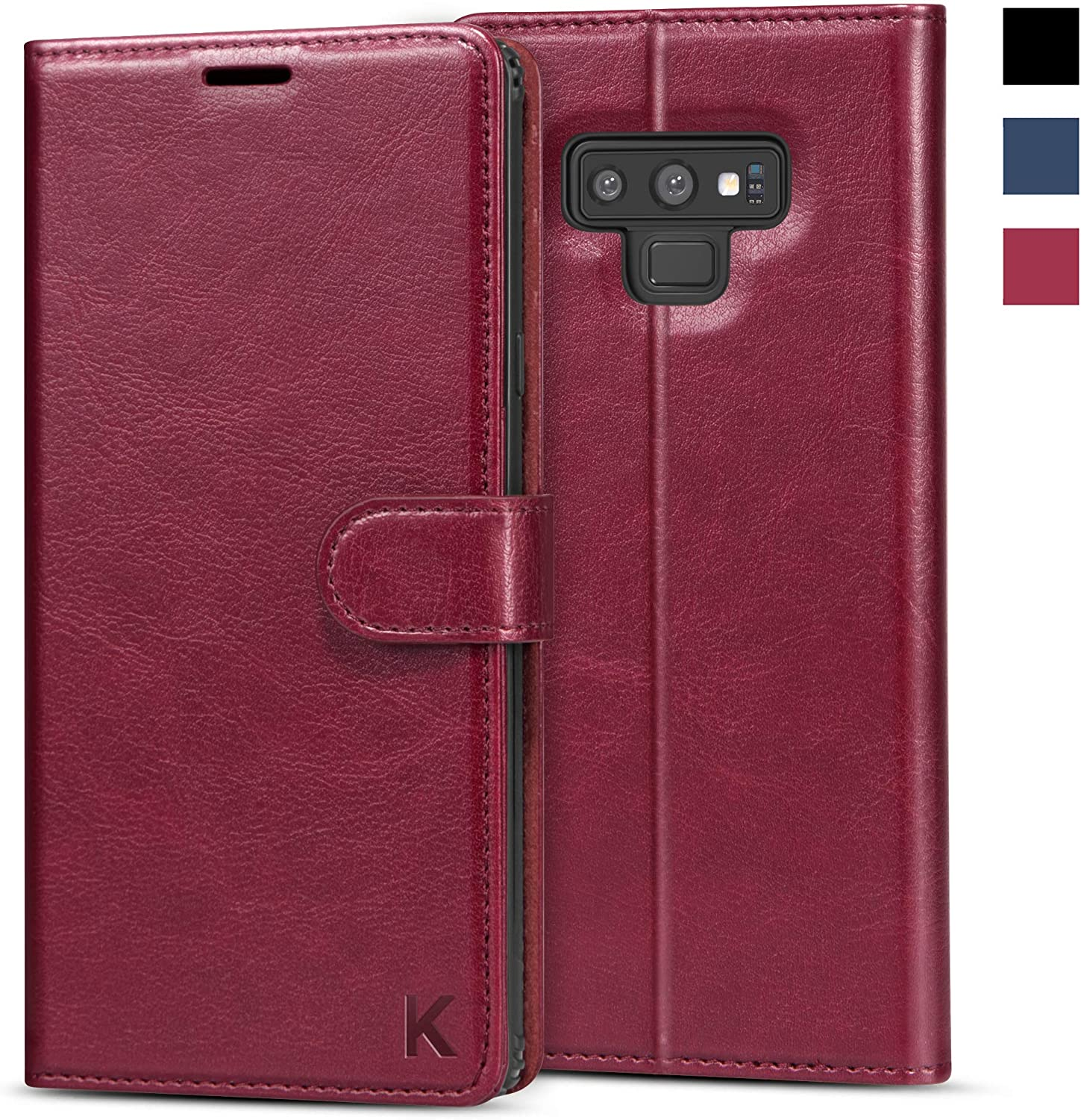 KILINO Galaxy Note 9 Wallet Case [S-Pen Fully Compatible] [RFID Blocking] [PU Leather] [Shock-Absorbent Bumper] [Soft TPU] [Card Slots] [Kickstand] Flip Folio Cover for Samsung Galaxy Note9 (Burgundy)