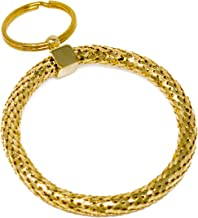 Vintage Gold and Silver Metal Mesh Jewelry Keychain (Gold Large Circle)