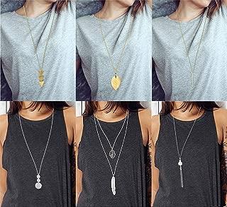 6 PCS Long Pendant Necklace for Women Girls Simple Bar...