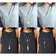 Anlsen 6 PCS Long Pendant Necklace for Women Girls Simple Bar Layer Three Triangle Tassel Y Charm...