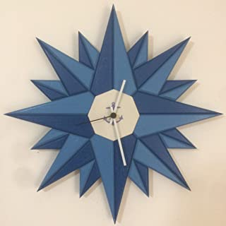 Orologio da parete Rosa dei Venti blu/azzurro