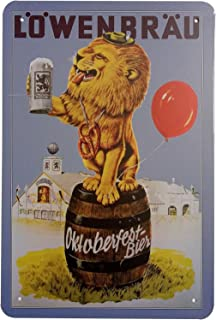 ERLOOD Lowenbrau Beer Retro Vintage Home Decor Wall Tin Sign