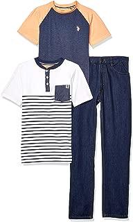 U.S. Polo Assn. Boys 3 Piece Short Sleeve T-Shirt, Henley, and Jean Set Pants Set - Blue