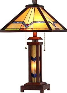 Chloe Lighting CH33430WM15-DT3 Tiffany Alexander -Style Mission 3-Light Double Lit Wooden Table Lamp, 15