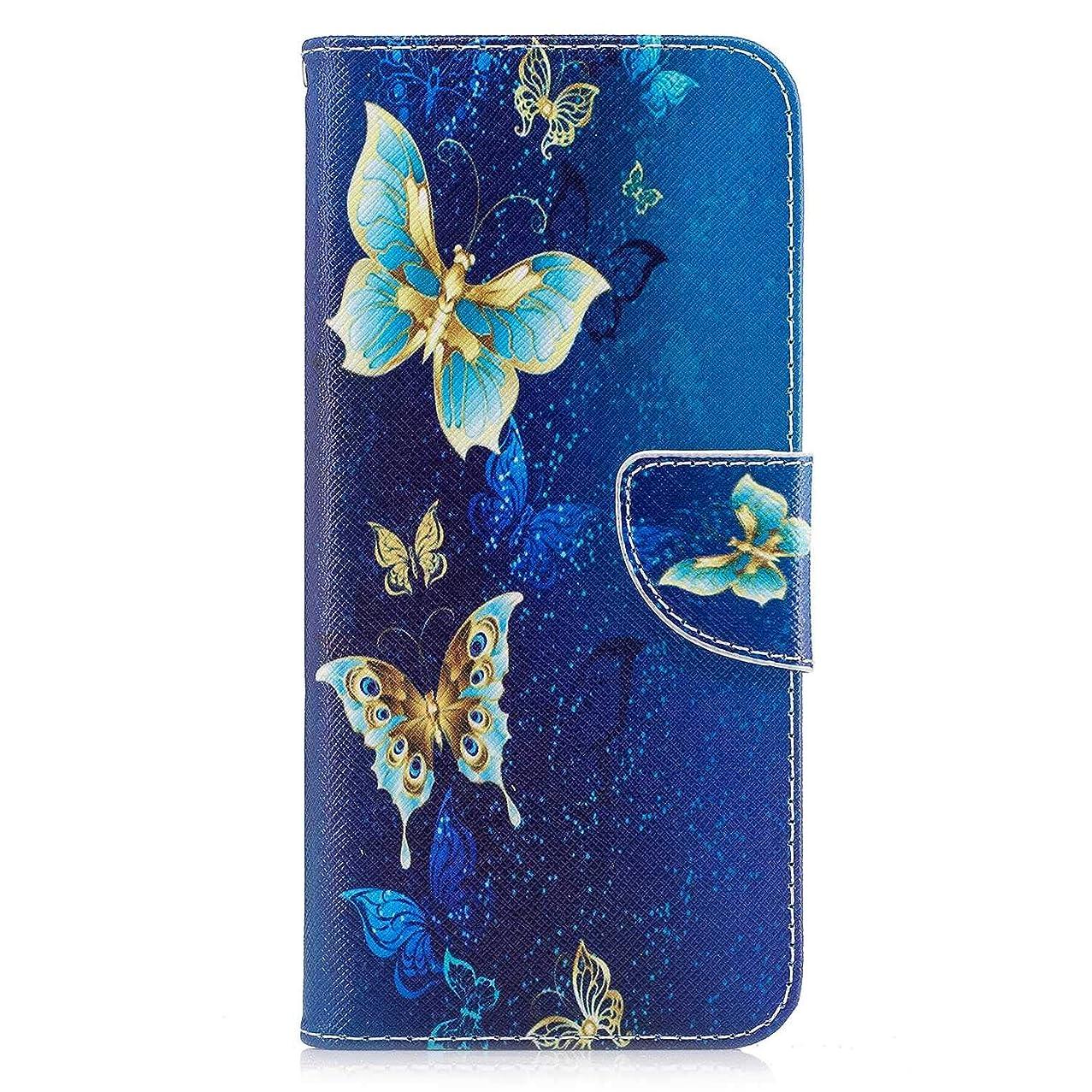 スズメバチ種をまくルートOMATENTI Galaxy S8 Plus ケース, ファッション人気 PUレザー 手帳 軽量 電話ケース 耐衝撃性 落下防止 薄型 スマホケースザー 付きスタンド機能, マグネット開閉式 そしてカード収納 Galaxy S8 Plus 用 Case Cover, バタフライ-4