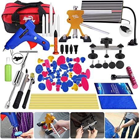 Amazon Com Super Pdr 68pcs Auto Body Paintless Dent Removal Repair Tools Kits Dent Lifter Slide Hammer Pro Tabs Tap Down Led Reflector Board With Tool Bag Automotive