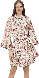 Bimba Frauen Baumwolle gedruckt Blumen Robe Brautbrautjunfer Getting Ready Coverups