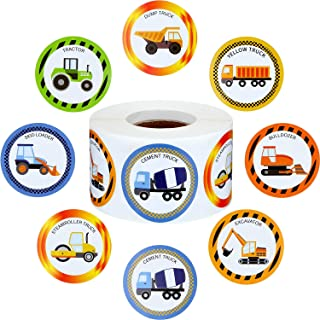 Outus 600 Pieces Truck Stickers Construction Car Sticker 1.5 Inch Truck Car Shape Wall Decals for Birthday Truck Themed Party Supplies