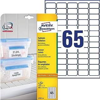 Avery Zweckform L7971-25 - Etiquetas de congelación, aptas para congelador, (38,1 x 21,2 mm, 25 hojas, 1625 unidades), color blanco