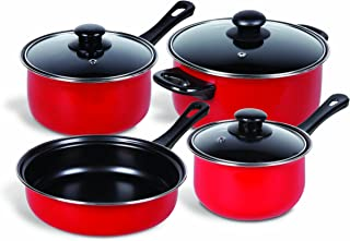 Gibson Home 83683.07 Cuisine Select Chef Du Jour 7-Piece Cookware Set, True Red