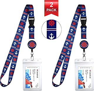 2-Pack Cruise Lanyard & Waterproof ID Key Card Holder Clip. Matching Retractable Badge Reel. Bonus Travel Organizer Bag. Essential Cruise Ship Accessories. Blue & Red Anchor Helm
