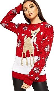 WearAll Womens Oversized Baggy Reindeer Long Sleeve Festive Christmas Jumper