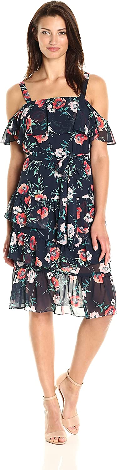 Eliza J Womens Flutter Sleeve Ruffle Dress Dress