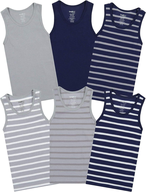 Buyless Fashion Boys Scoop Neck Tagless Undershirts Soft Cotton Tank Top (6 Pack)