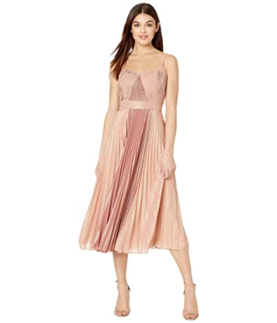 Marchesa Notte Sleeveless Color Blocked Pleated Lame Tea-Length Gown (Coral) Women