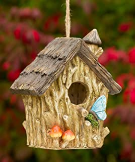 Butterfly and Mushrooms Bungalow Decorative Hand-Painted Bird House