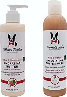 Warren London 8oz Butter Combo - Premium Dog Shampoo & Conditioner - Exfoliating Wash with Fragrant Leave in Conditioner