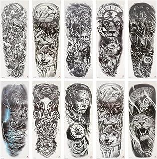 Beaupretty 10 Sheets Volledige Arm Tijdelijke Tattoo Waterdicht Verwisselbare Body Stickers Decal Voor Halloween Kostuum P...
