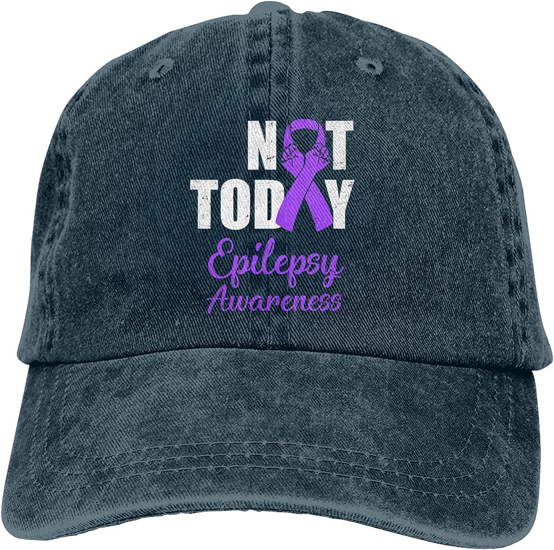 Epilepsy Awareness Purple Ribbon Not Today Unisex Adjustable Cotton Baseball Hat Cowboy Cap Dad Hats Denim Trucker Hat
