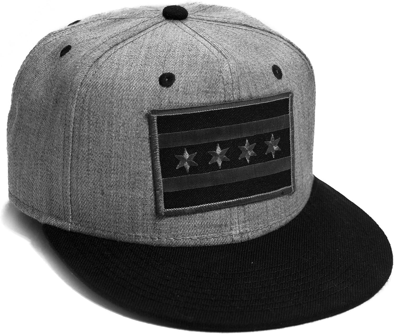 Chicago Flag Cap Flat Brim Grey Black Snap Back Baseball Hat