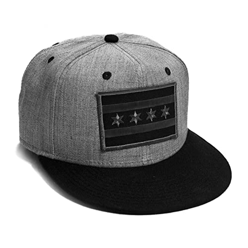 Strange Cargo Chicago Flag Cap Flat Brim Grey Black Snap Back Baseball Hat 96870c572f3